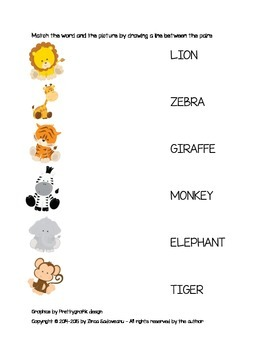 Safari Animals Activity Pack (uppercase letters)