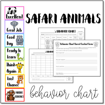 safari animals behavior clip chart with student accountability worksheets. Black Bedroom Furniture Sets. Home Design Ideas