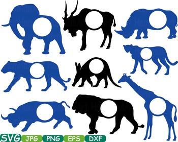 Safari Animals Circle clip art school animal woodland lion frame elephant -247s