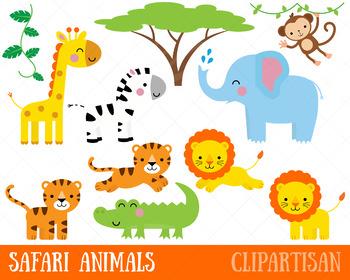 Safari Animals Clip Art | Jungle Animals | African Animals | Lion | Zebra