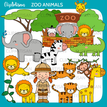 Safari Animals Clip Art, African Animals Coloring Activity