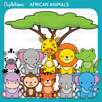 Safari Animals Clip Art, Jungle Animals,  African Wildlife