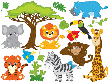 Safari Animals Clipart - Digital Vector African Animals