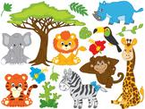 Safari Animals Clipart - Digital Vector African Animals