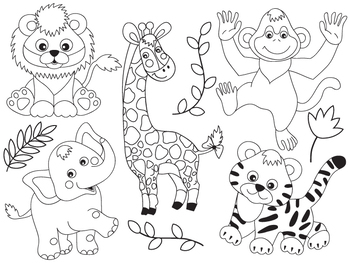 Safari Animals Clipart - Digital Vector Safari Animals, African Animals Clip Art