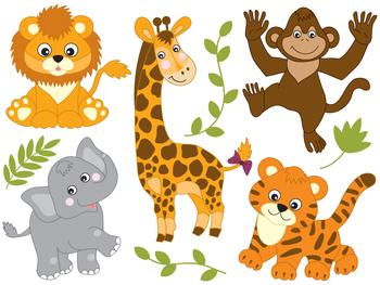 Safari Animals Clipart - Digital Vector Safari Animals, Af