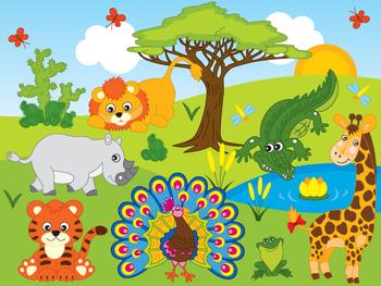 Safari Animals Clipart - Digital Vector Safari Animals, African Animals Clip Art