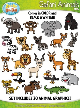 Safari Animals Clipart {Zip-A-Dee-Doo-Dah Designs}