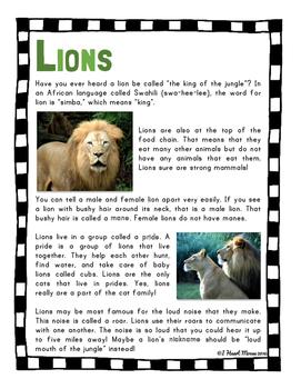 Safari Animals Close Reading Passages
