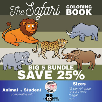 Safari Animals Coloring Book Bundle | SAVE 25%