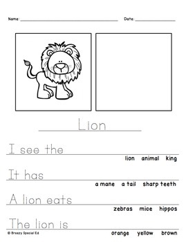 Safari Animals Differentiated Journal Writing for Special Education #homepacket