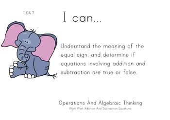 Safari Animals Theme 1st grade math Common Core Posters first Grade Standards