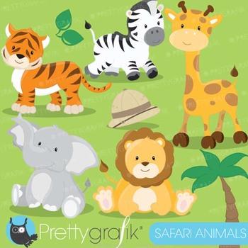 Safari Animals clipart commercial use, Jungle animals vector graphics - CL616