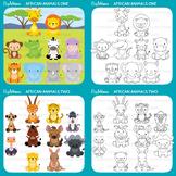 Safari Baby Animals Clipart / Jungle Animals Clipart / Zoo Animals Clipart