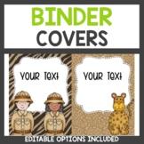 Safari Themed Binder Covers