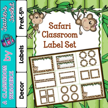 Safari Themed Classroom Label Set Plus Editable Files {UK
