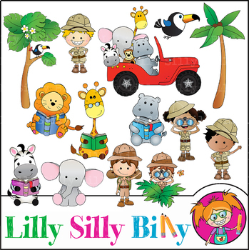 Safari Clipart Bundle. 85 BLACK AND WHITE & Color Images. {Lilly Silly Billy}