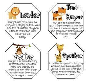 Safari Cooperative Learning Job Cards