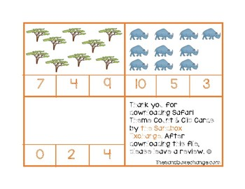 *FREEBIE* Safari Count and Clip Cards