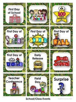 Safari Decor Calendar and Class Schedule Editable