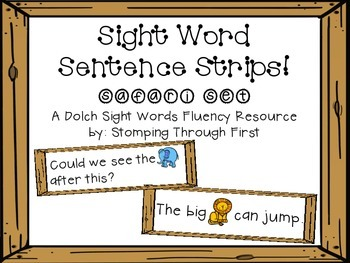 Safari Dolch Sight Word Sentence Strips