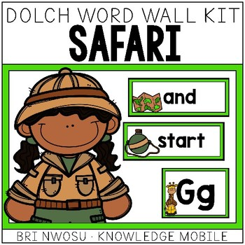 Safari Dolch Word Wall Kit - 220 Cards, Labels, & Banners