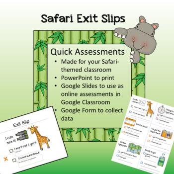 Safari / Jungle theme - Exit Slips