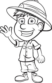 Safari Expedition - Black & White for Coloring! - Digital Graphics Pack