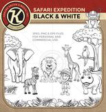 Safari Expedition - Black & White for Coloring! - Digital