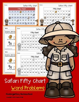 Safari Fifty Chart Using Word Problems. Missing Numbers. No Prep. Ready 2 GO.