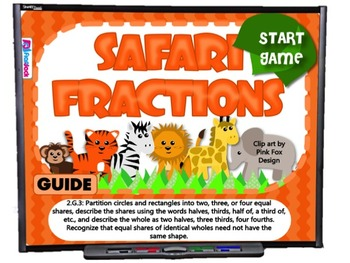 Safari Fractions Smart Board Game (CCSS.2.G.3)
