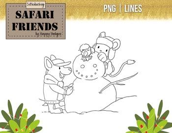 Safari Friends: Build a Snowman! Original clip art image free!