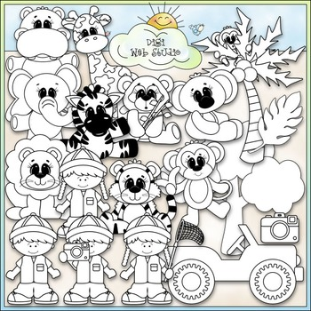 Safari Fun Clip Art - Jungle Animals Clip Art - CU Clip Art & B&W