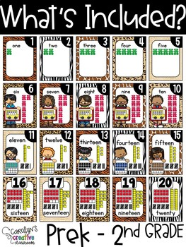 Safari, Jungle, Animal Print Number Posters - Safari Classroom Decor