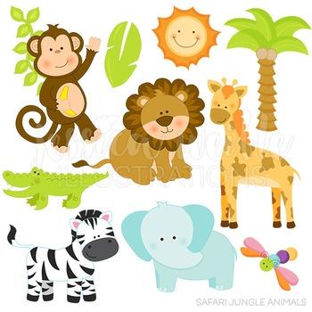 Safari Jungle Animals Cute Digital Clipart, Jungle Clip Art