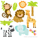 Safari Jungle Animals Cute Digital Clipart, Jungle Clip Art