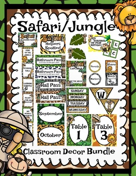 Safari Jungle Classroom Decor Bundle (Animals, Zoo, Forest, Explorer, Adventure)