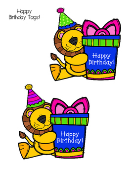 Safari/Jungle Happy Birthday Tags