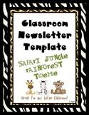 Safari Jungle Rainforest Classroom Newsletter Template