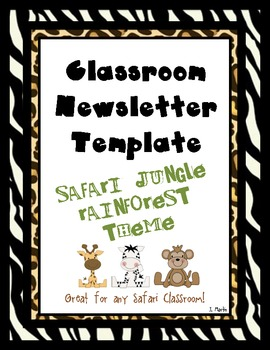 Safari Jungle Rainforest Classroom Newsletter Template