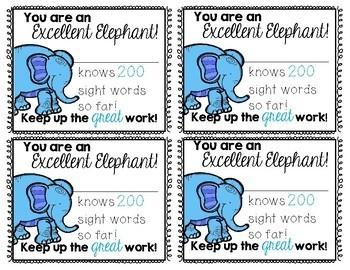 Safari/Jungle Theme Sight Words Encouragement Cards