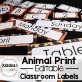 Safari/ Jungle Themed Classroom Labels Super Pack (Editable)