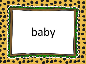 Safari / Jungle Themed Sight Words - Nouns