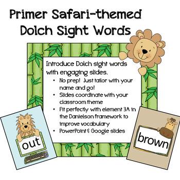 Safari / Jungle Themed Sight Words - Primer level