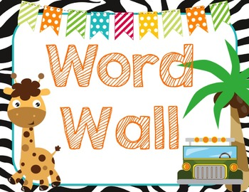 Safari | Jungle Themed Word Wall {K-1 High Frequency Words included}
