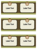 Safari, Jungle, and Monkey Theme Labels (Elementary or Middle)