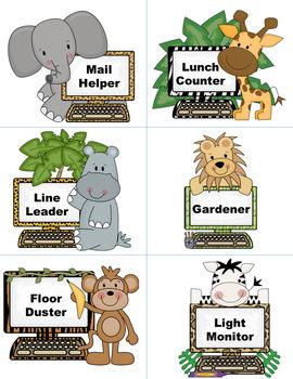 Safari - Jungle theme - Classroom Jobs