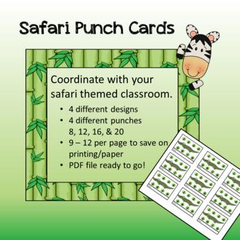 Safari / Jungle theme - Punch Cards