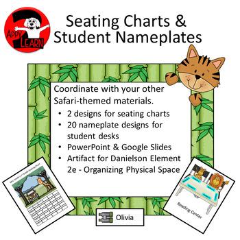Safari - Jungle theme seating charts and nameplates