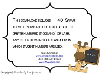 Safari  Jungle themed Student Number Labels